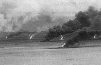 burning oilfields in Kuwait during the first Gulf War